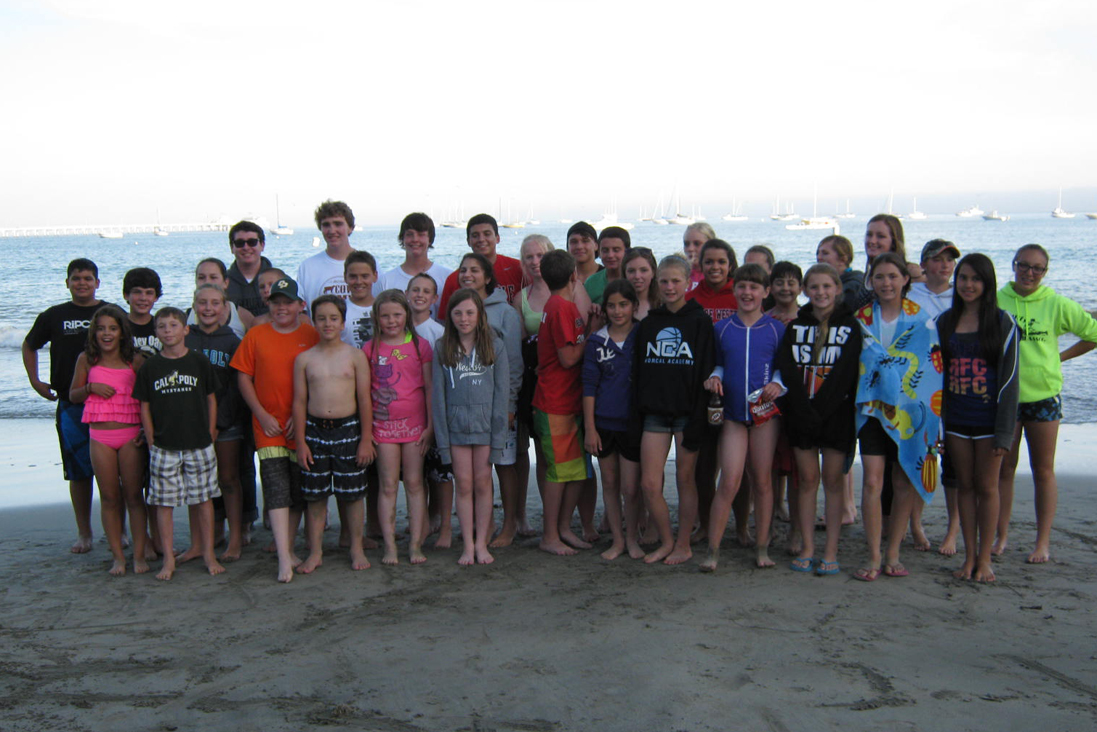 cow camp group at beach